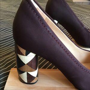Clark's leather/wood heels